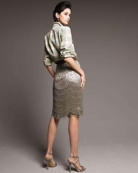 Theresa Beaded Lame Skirt