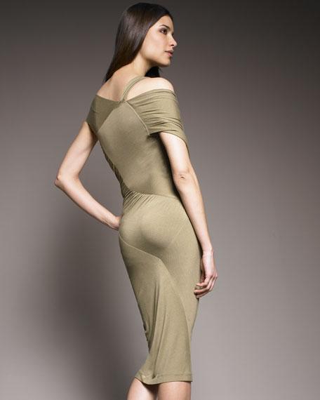 Asymmetric Twist Jersey Dress