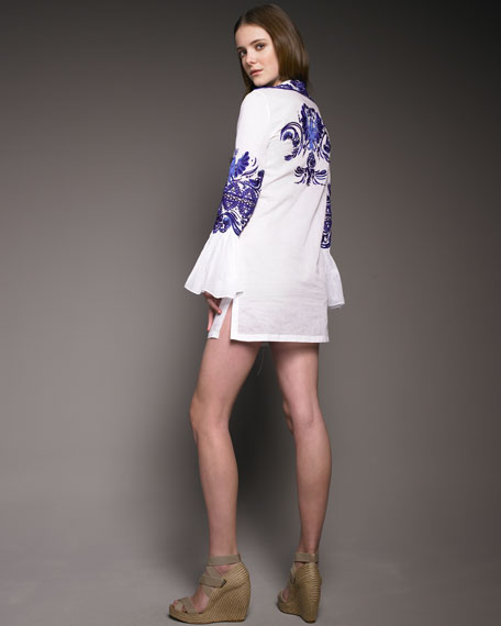 Embroidered Voile Dress
