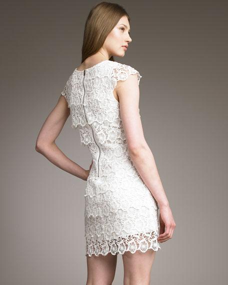 Tiered Crochet Shift Dress