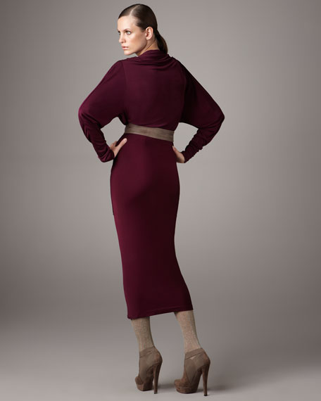 Fixed-Sash Drape Dress