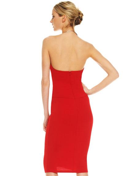 Ring-Neck Twist-Front Dress, Crimson