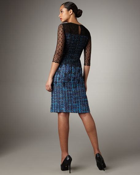 Lace-Overlay Tweed Dress