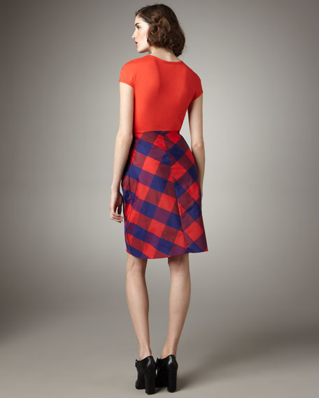 Plaid Taffeta-Skirt Dress