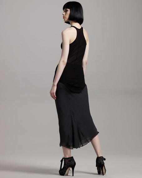 Long Back-Godet Skirt, Pearl