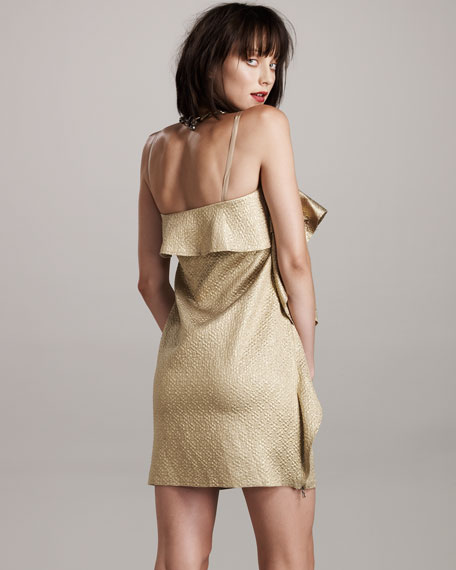 Metallic Ruffle Dress