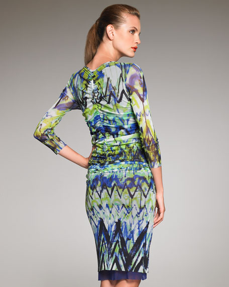 Chevron-Print Sheath Dress