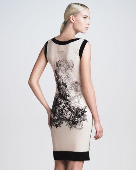 Sleeveless Tattoo-Flocked Dress