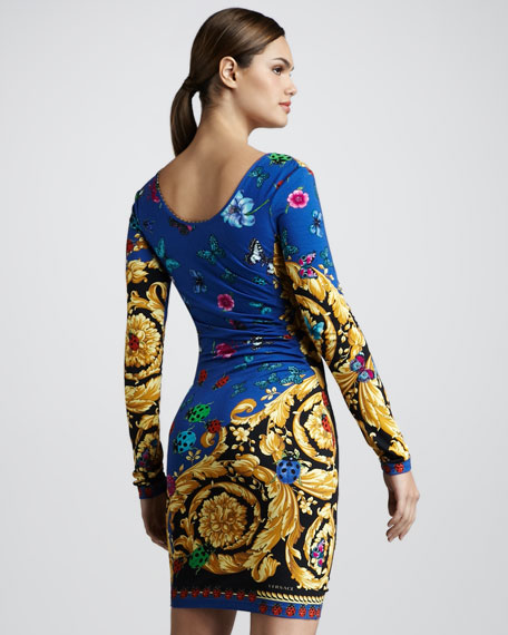 Baroque Bug-Print Jersey Dress