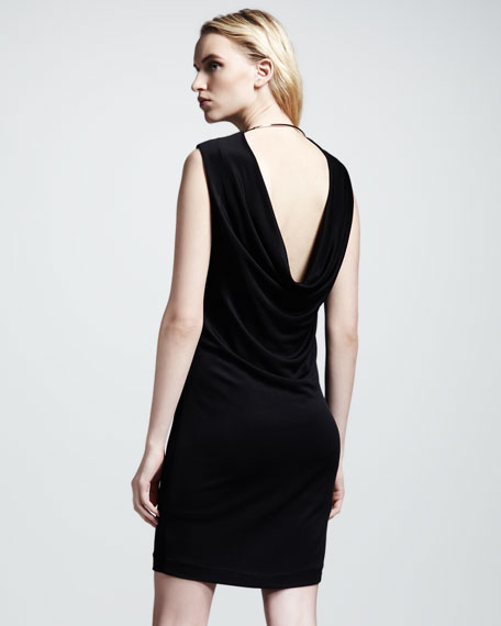 Drape-Back Pique Dress