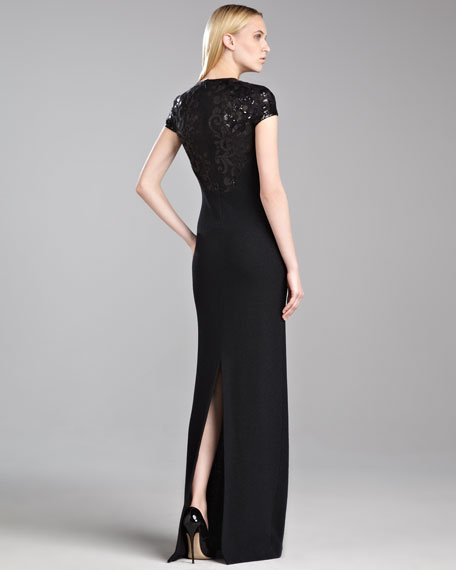 Sequin-Sleeve Shimmer Knit Gown, Caviar