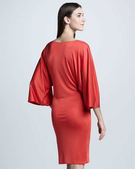 Full-Sleeve Silky Dress, Coral