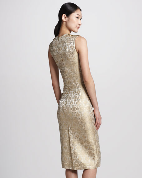 Beaded Metallic Jacquard Sheath Dress