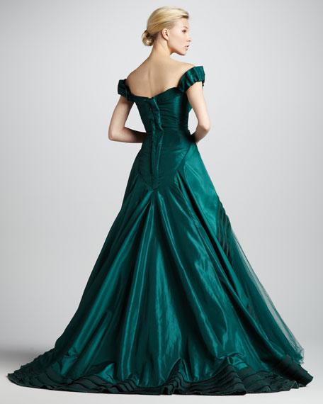 Sweetheart-Neck Ball Gown, Dark Green