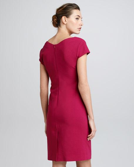 Cowl-Neck Wool Crepe Dress, Raspberry