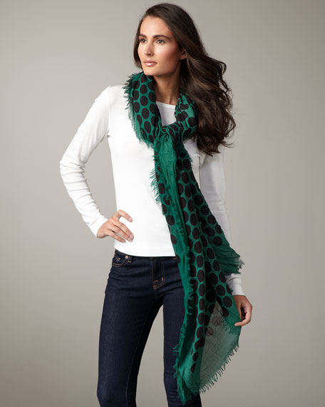 Large Dotted Cashmere-Silk Scarf, Green