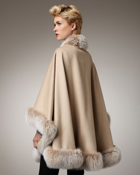 Fox Fur-Trimmed Cashmere Cape, Blonde