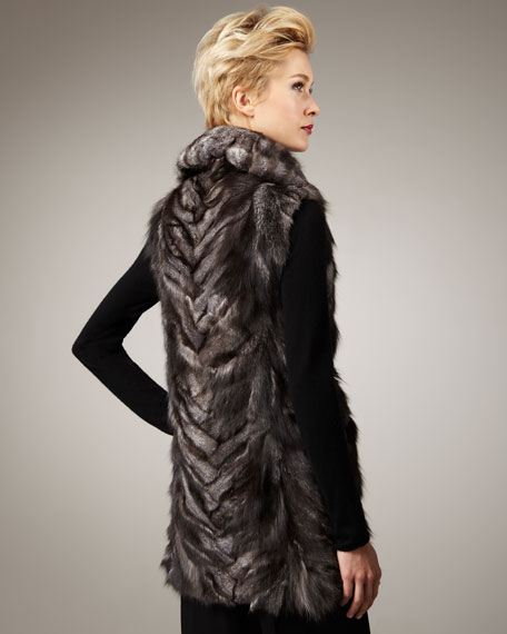 Shawl-Collar Fur Vest