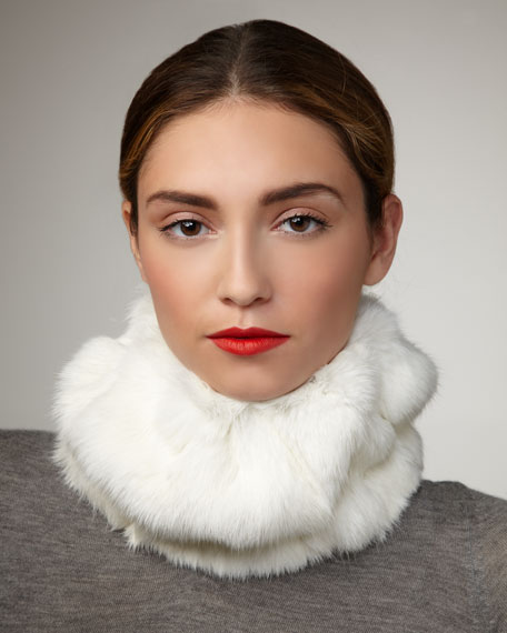 Rabbit Fur Head- & Neck-Warmer, Ivory