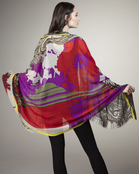 Mixed Abstract-Print Stole, Red