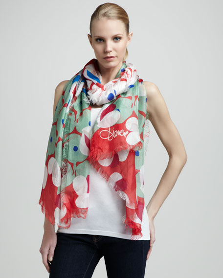 Meadow-Print Silk Scarf