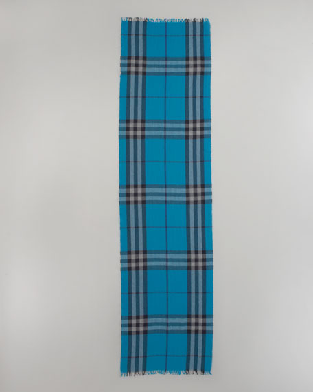 Giant Check Crinkle Scarf, Dark Turquoise