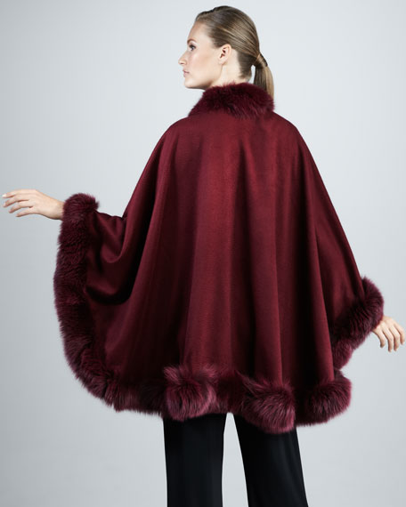 Fox Fur-Trimmed Cashmere U-Cape, Plum