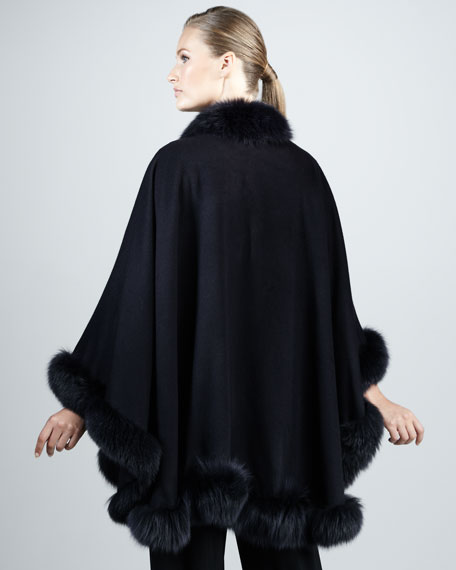 Fox Fur-Trimmed Cashmere U-Cape, Navy