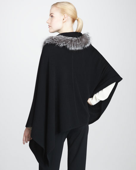 Fox Fur-Hooded Cashmere Poncho