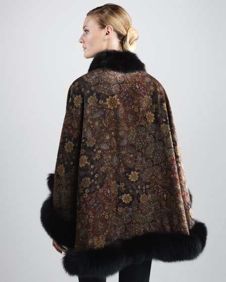 Fox Fur-Trimmed Floral-Print Cape