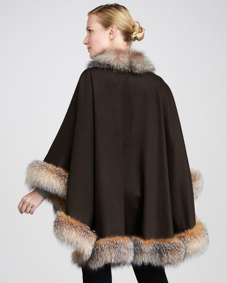 Fox Fur-Trimmed Cashmere U-Cape, Chocolate