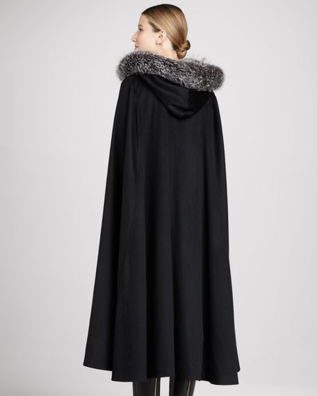 Fox Fur-Trimmed Hooded Cashmere Cape