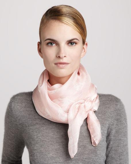 Skull-Print Chiffon Scarf, Light Pink/White