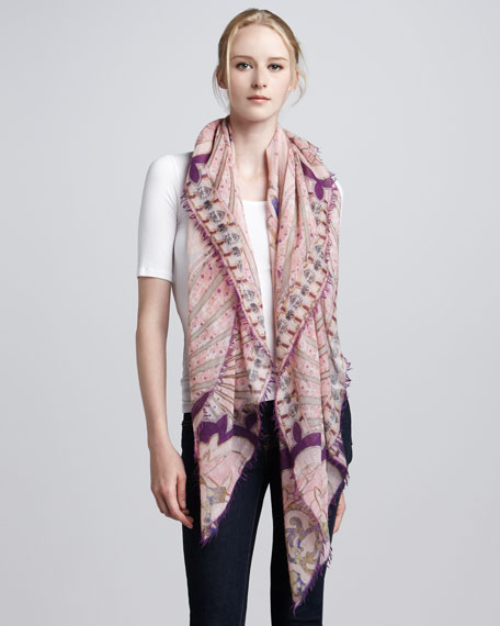 Printed Cashmere Silk Scarf