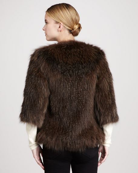 Knitted Fox Fur Crewneck Jacket, Brown