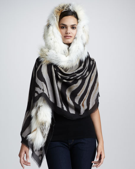 Fox-Trimmed Animal-Print Stole