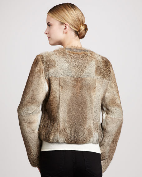 Collarless Rabbit Fur Jacket