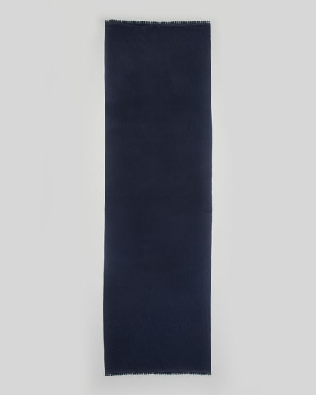 Pom-Pom Trim Satin-Weave Stole, Blue Nights