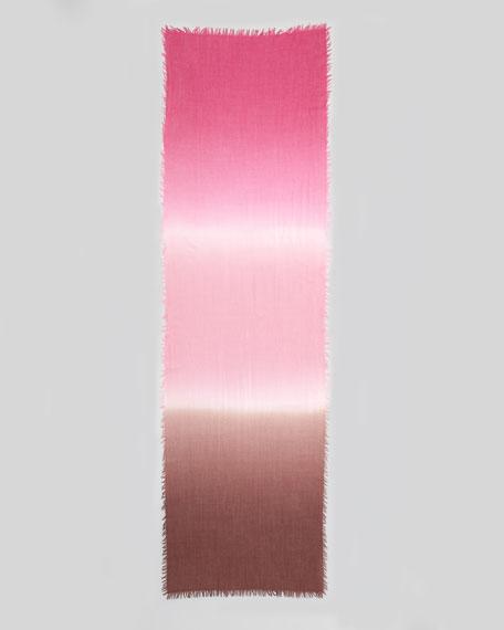 Tricolor Fringe Stole, Tartan Pink
