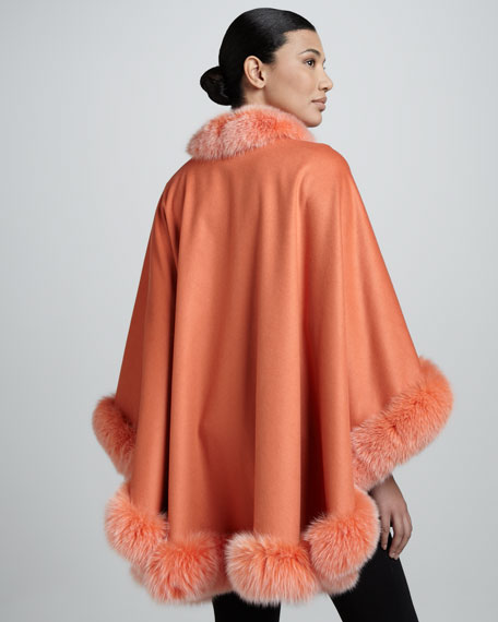 Fox Fur-Trimmed Cashmere U-Cape, Mercury