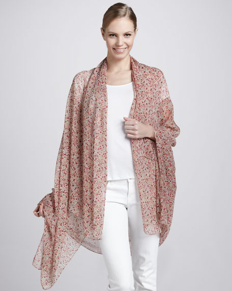 Liberty-Print Spring Scarf, Ivory/Pink