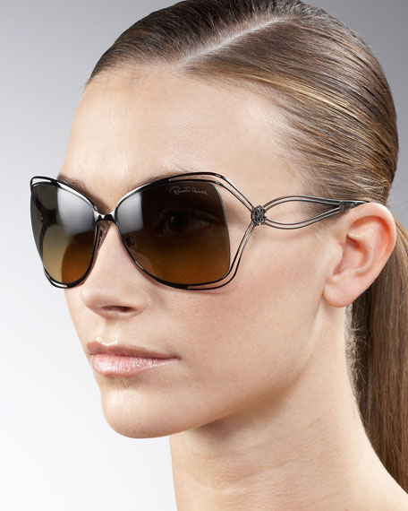 Open-Temple Metal Sunglasses