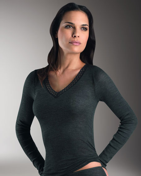 Woolen Silk Lace-Trim Top