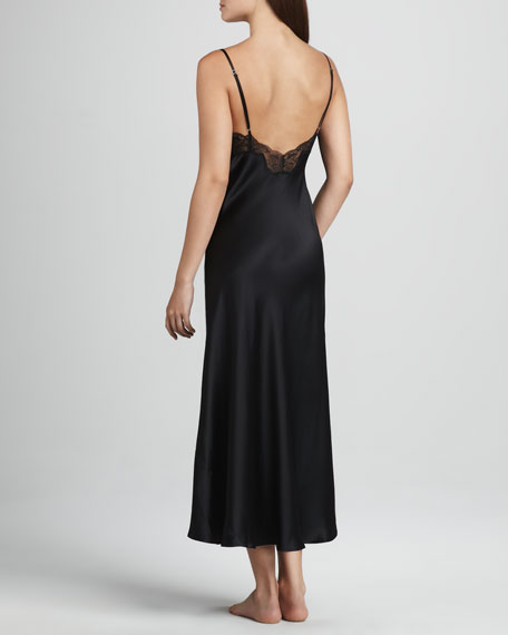 Long Silk Gown, Black
