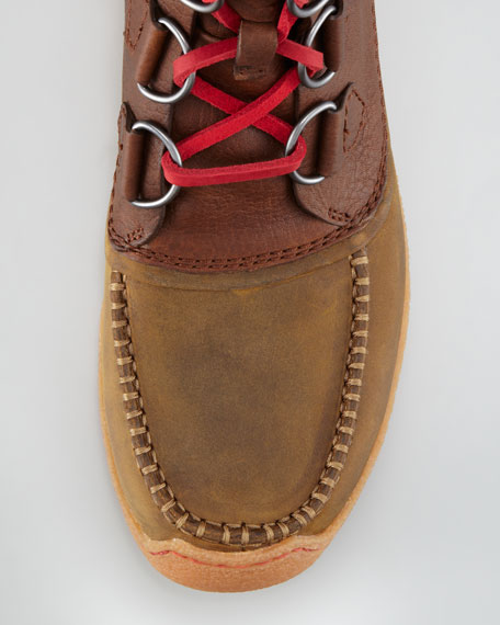Waterproof Rubber-Bottom Boot, Dark Brown