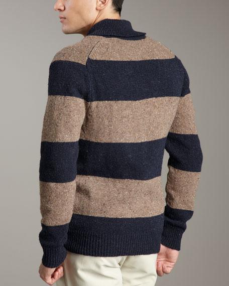 Rugby-Stripe Shawl-Collar Sweater