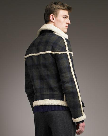 Shearling-Trim Check Jacket