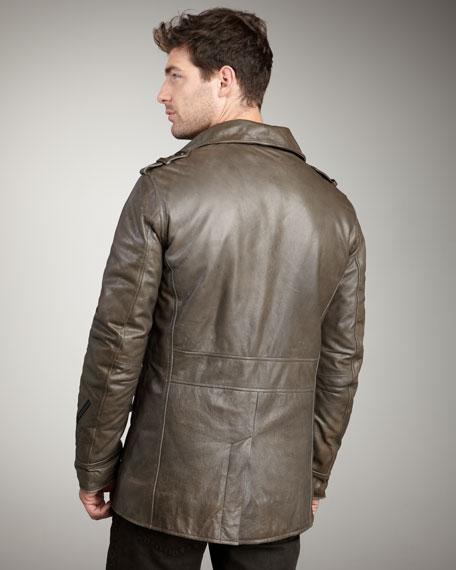Washed Leather Military Jacket