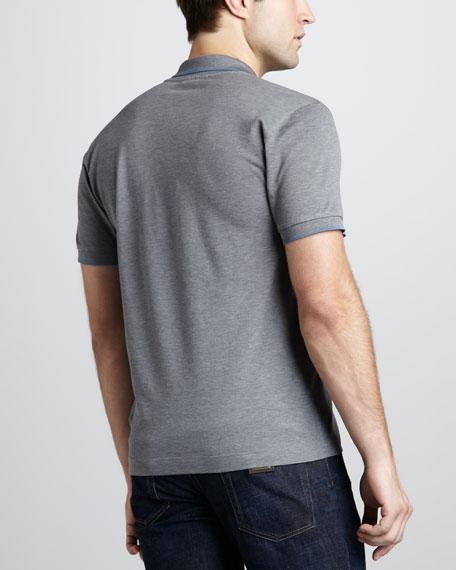Tipped Logo Polo, Gray
