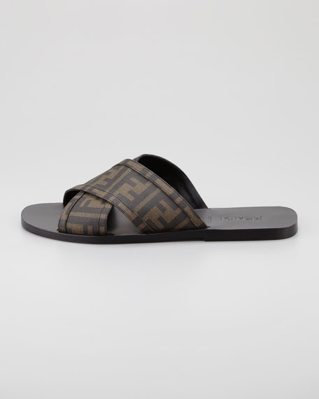 Men's Cross-Strap Logo Slide Sandal